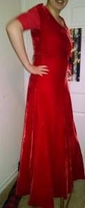 velvet gown other side in progress