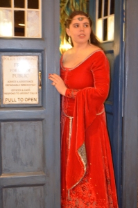 Looking out the TARDIS.